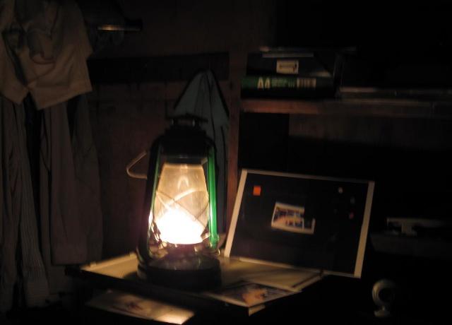 Освещение свечкой, керосинкой, коптилкой, факелом
